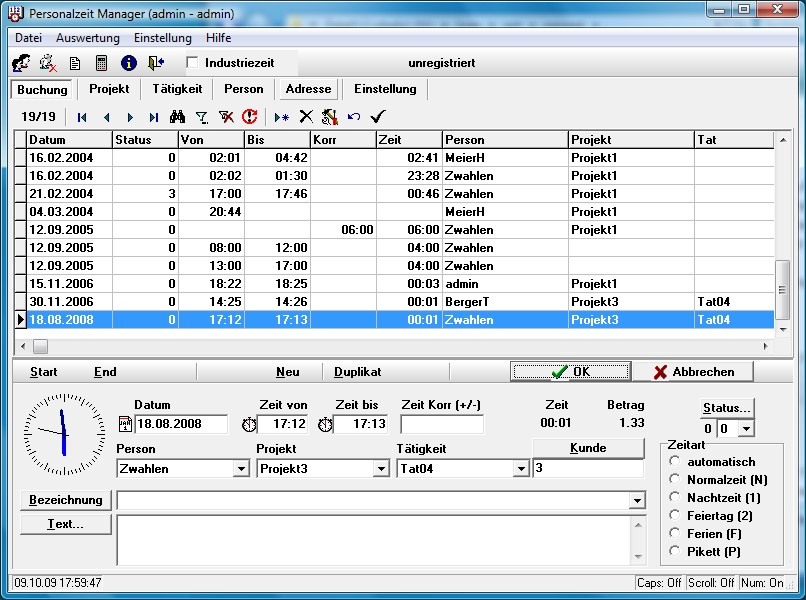 Personalzeit Manager (netzwerkfähig)
